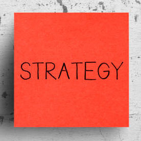 Sticky note on concrete wall, Strategy